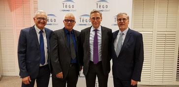 de gauche à droite Jean-Louis Cantagrill Vice-président, Alain Giraud Président du SSI, le Général Patrice Paulet PDG de l'AGPM et Roland Aubin Vice-président délégué